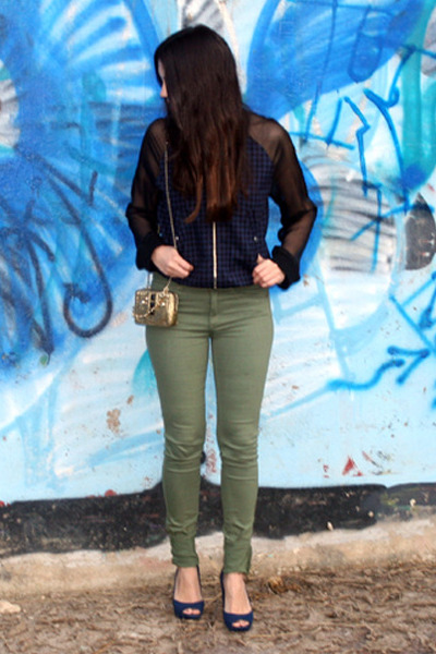 navy H&M jacket - olive green H&M jeans - gold Juicy Couture bag