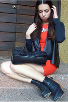 red Zara dress - navy Zara boots - black Zara sweater - black Moschino bag