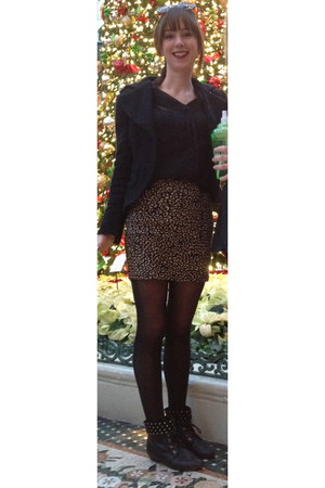material girl skirt - vintage boots - le chateau jacket