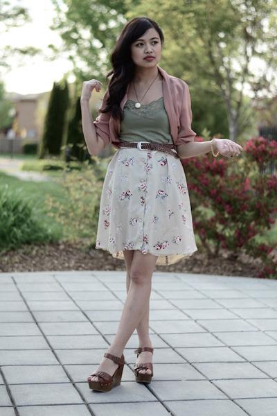 vintage floral thrifted skirt skirt - dusty rose Forever 21 blazer