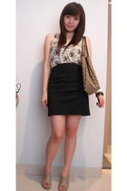 beige cotton on shirt - black skirt - brown shoes - brown purse - black Forever