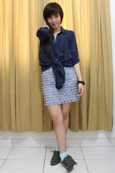 blue shirt - blue Zara dress - blue socks - gray Zara shoes - black Forever 21 b