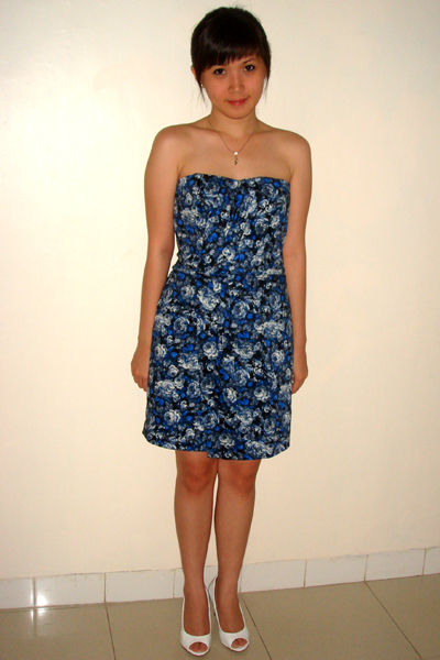 blue Mango dress - white shoes