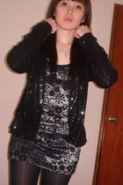 black Zara blazer - black Forever 21 blouse - black stockings