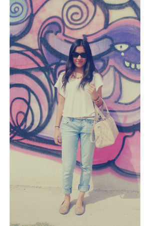 beige bag - sky blue jeans - tan flats - beige blouse