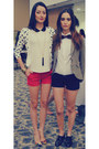 Navy-shoes-brown-blazer-red-shorts-black-shorts-white-blouse-red-pumps