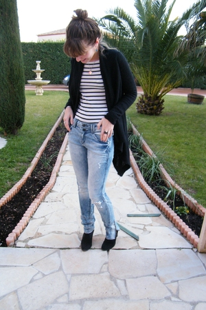 H&M jeans - mellow yellow boots - 3 suisses cardigan - H&M t-shirt