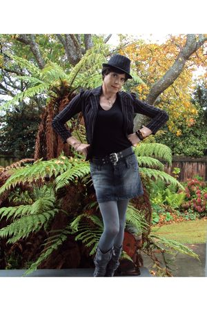 black supre blazer - black Glassons top - gray Glassons skirt - gray garage tigh