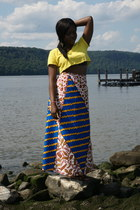 navy handmade skirt - yellow cropped Urban Outfitters t-shirt