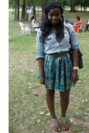 w african print custom made skirt - button down Gap shirt