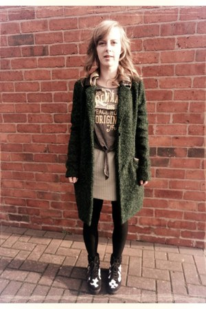 h collection Debenhams coat - vintage skirt - cropped H&M top