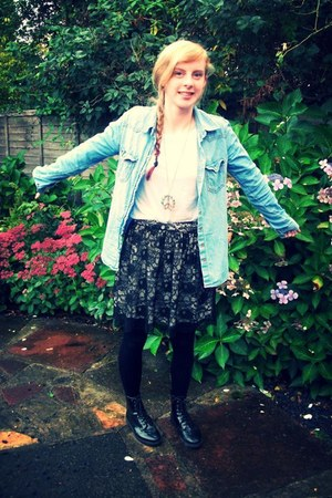 next top - patent Topshop boots - denim H&M shirt - lace new look skirt