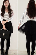 white H&M shirt - black H&M skirt