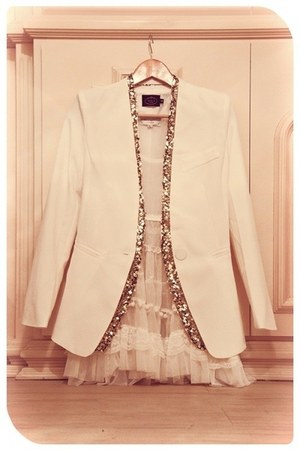 lace dress - creme blazer - sequined cardigan