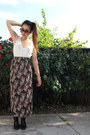 Black-franco-sarto-boots-black-floral-maxi-express-skirt-white-caged-blouse