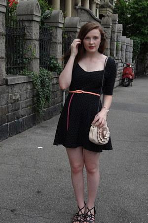 light pink unknown bag - dark gray Urban Outfitters dress - salmon H&M belt