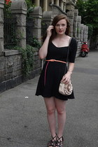 light pink unknown bag - dark gray Urban Outfitters dress - salmon H&M belt