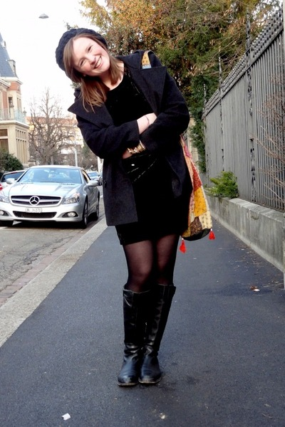 black velvet Nasty Gal dress - black Moschino boots - black Ann Klein jacket