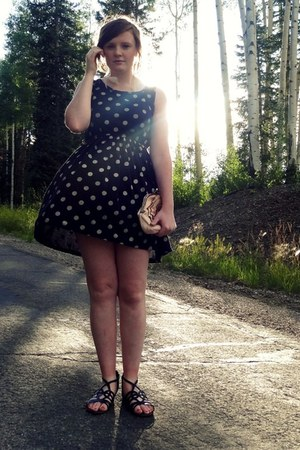 black polka dots Walk with Grandam dress - peach clutch unbranded bag
