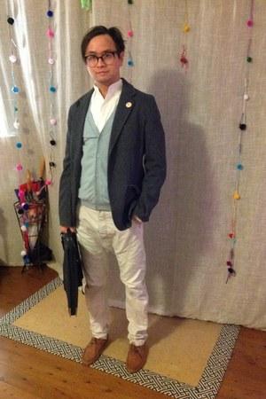 Zara jacket - seed shirt - vintage glasses - seed cardigan - Topshop pants