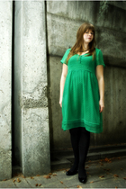 green H&M dress - black H&M - black Target tights - black Very Volatile shoes
