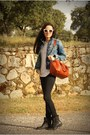 Black-mango-jeans-blue-zara-jacket-brick-red-bimba-lola-bag