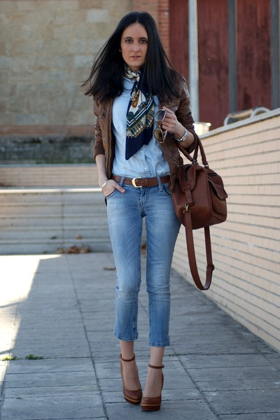 Zara bag - Stradivarius jeans - Zara shirt - vintage scarf