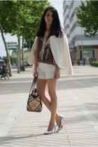 Bershka heels - Mango blazer - Burberry bag - Zara shorts - Bersh t-shirt