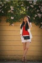 off white Zara blazer - off white Zara shorts - Zara heels - Oakley glasses