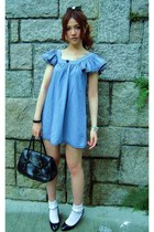 blue denim RNA dress - black Anna Sui bag - white 17C by blondoll socks - black