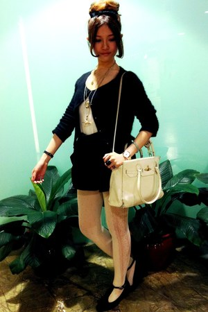 cream lace tights - white vivienne westwood bag - black high waisted shorts - bl