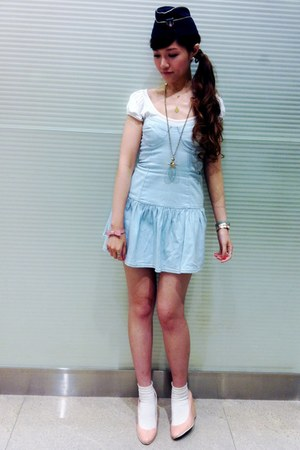 sky blue denim dress - navy hat - white socks - pink bow bracelet - white t-shir