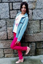 pink heels - sky blue jacket - hot pink pants - white t-shirt