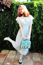 sky blue OASAP bag - light blue vintage dress - white Forever 21 tights