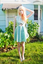 silver modcloth bag - aquamarine Boohoo dress - silver asos flats