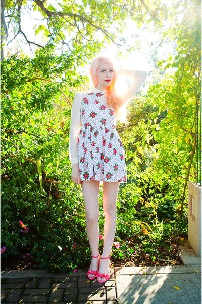 hot pink floral Topshop dress - ivory sheer Forever 21 blouse