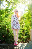 hot pink floral Topshop dress - ivory sheer Forever 21 blouse