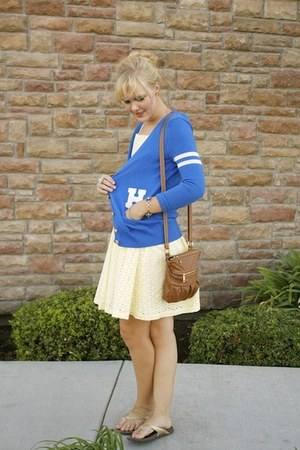 light yellow eyelet modcloth dress - blue boyfriend Forever 21 cardigan