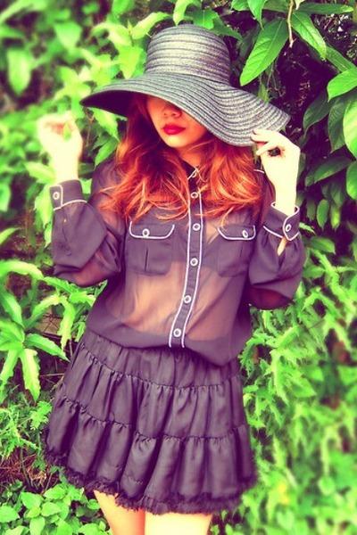 black Zara blouse - black Forever 21 hat - black Topshop skirt