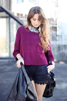 maroon cropped knit Alive Girl sweater - black Topshop bag - black high-waisted