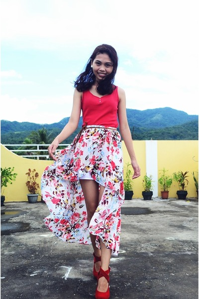 salmon Wardrobe Check skirt - red Forever 21 top - red Highstyle fancy wedges