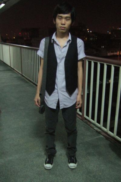 Topman top - Topman vest - H&M jeans - H&M purse - Converse shoes