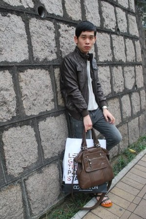 heather gray Cheap Monday jeans - dark brown Zara jacket