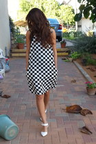 black and white HALstyle dress