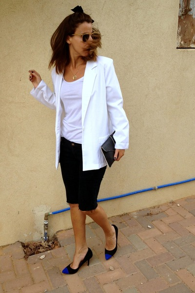 blue pointed toe Zara shoes - white white thrifted vintage blazer