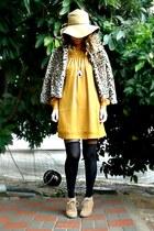 boots - bronze dress