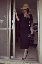 black pointed toe H&M shoes - fringe HALstyle dress - vintage ann taylor purse