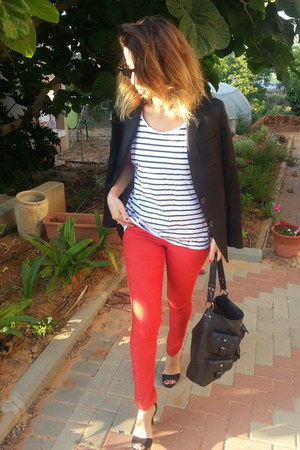red skiny H&M jeans - black Mango blazer - stripes H&M shirt - heels H&M sandals