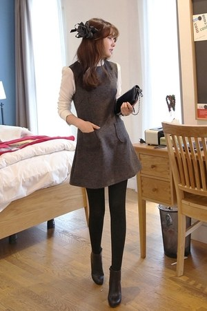 black MIAMASVIN boots - charcoal gray MIAMASVIN dress