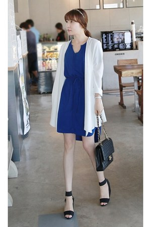 blue MIAMASVIN dress - white MIAMASVIN jacket - black Chanel bag